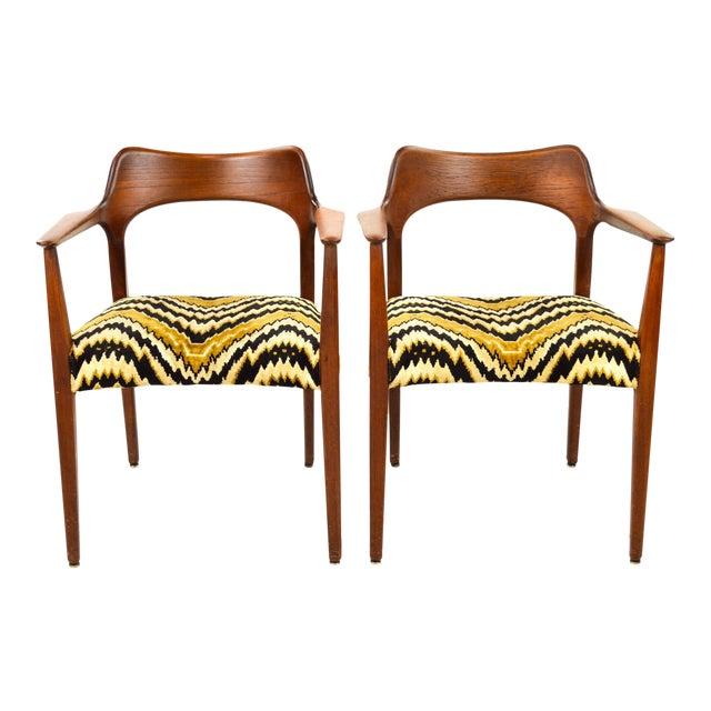 Mid-Century Modern Danish Teak Arm Chairs - A Pair - Image 1 of 10