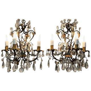 Pair of Petite French Maison Jansen Style Iron, Tole and Crystal Chandeliers