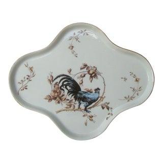 Limoges France Quatrefoil Vanity Tray Rooster For Sale