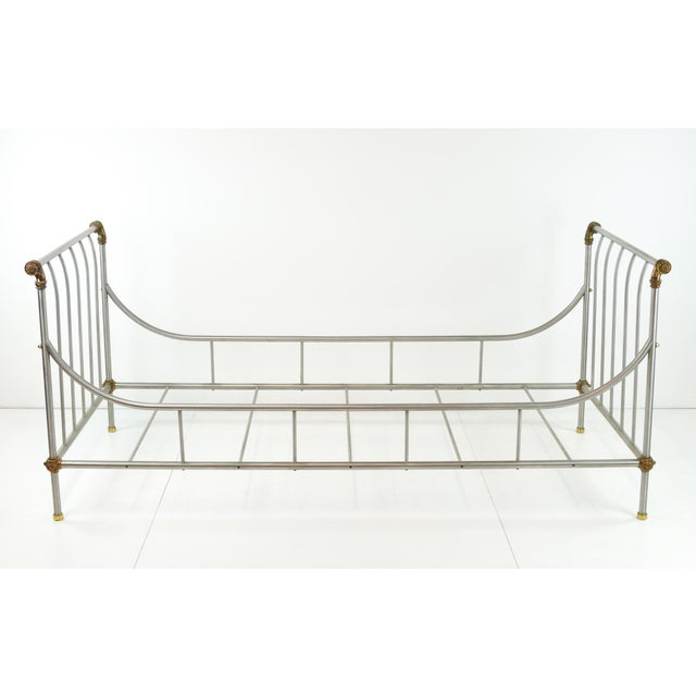 Maison Jansen Style Steel & Brass Daybed - Image 2 of 9
