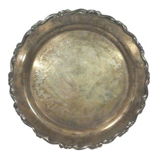 Georgian Scroll Round Silverplate Tray