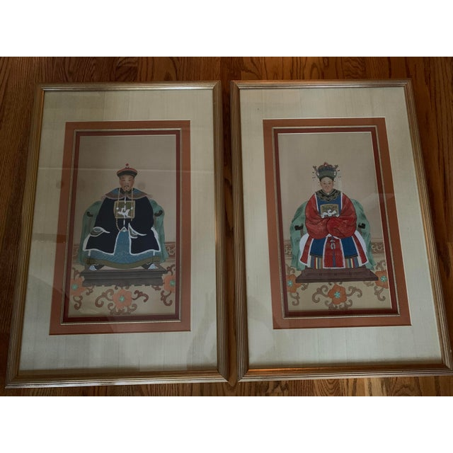 Chinese Ancestral Portraits Early 20th Century Paintings on Paper - a Pair For Sale - Image 9 of 9