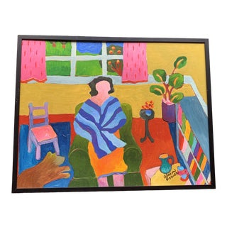1980s Woman in a Blue Shawl Alison Power Framed Painting For Sale
