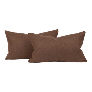 Chevalier Wool Walnut Lumbar Pillow Cover (Pair) For Sale