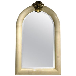 Goatskin and Brass Wall Mirror in the Manner of Karl Springer For Sale