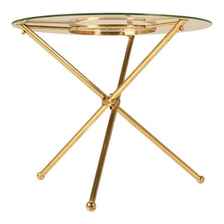 Dynamite French Forties Brass & Glass Neoclassical Table For Sale