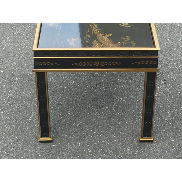 Drexel Drexel Sketchbook Chinoiserie Style Black and Gold Lacquer End Tables - a Pair For Sale - Image 4 of 10