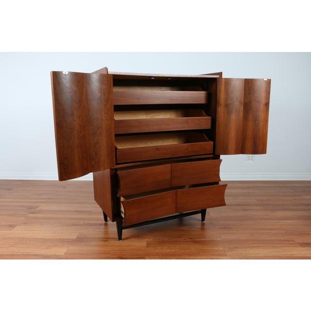 Mid Century Walnut Highboy Dresser - Image 3 of 4