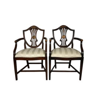 Alden Parkes Classic Shield Back Arm Chairs- - a Pair For Sale