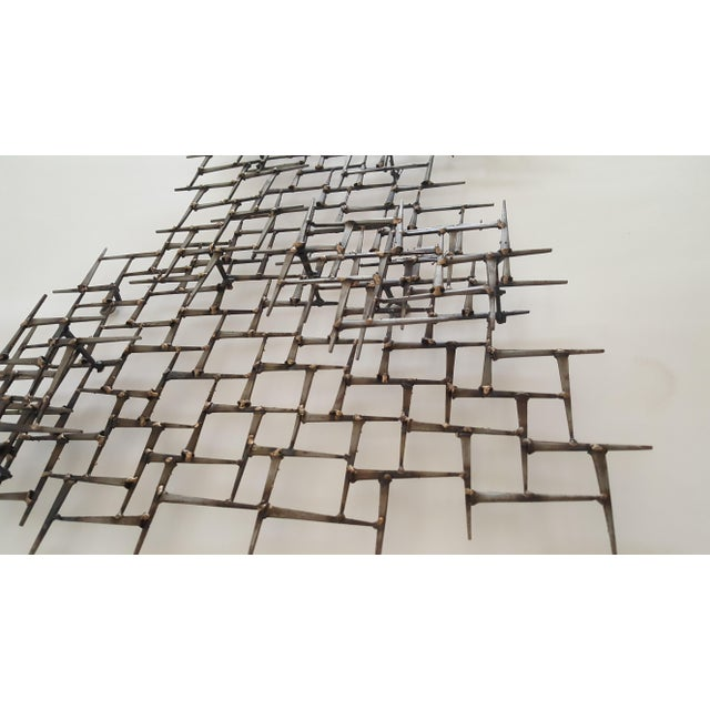 Abstract Metal Bronze & Mason Nails Wall Sculpture For Sale In Miami - Image 6 of 7