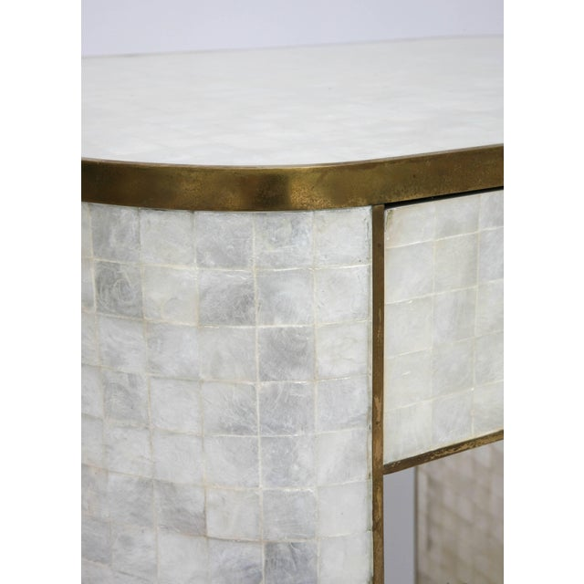 The Platt Collections Capiz Shell and Antiqued Brass Cabinet by Platt Collections For Sale - Image 4 of 11