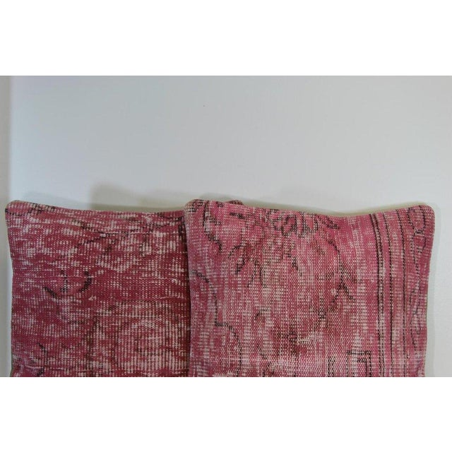 Pink Handmade Over-Dyed Rug Pillow Covers - A Pair - Image 2 of 6