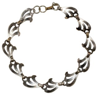 Monet Jewelers Necklace Silver-Tone Choker Waves Collar Vintage 1930s For Sale