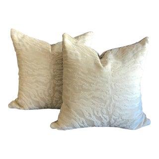 S.Harris Cream Tiger Velvet & Mushroom Velvet Back Pillows - a Pair