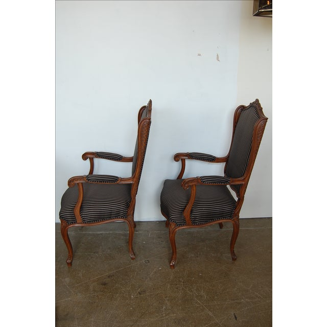 Louis XV French Pinstripe Carved Fauteuils - Pair - Image 7 of 9