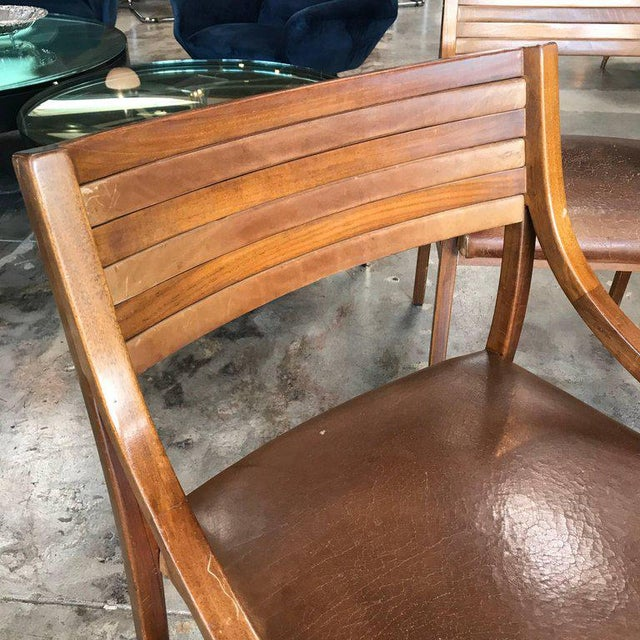 Ico Parisi Mod 110, Italian Walnut and Leather Dining Chairs 1959 For Sale - Image 5 of 9