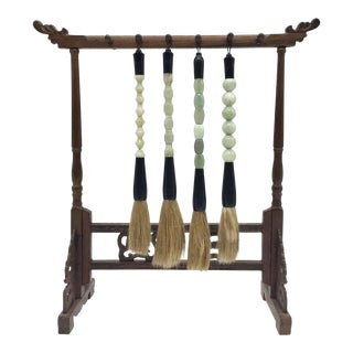 Jade Brushes and Rosewood Stand - Set of 5 For Sale