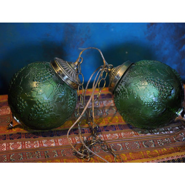 Vintage Green Glass Globe Pendants - Image 3 of 3
