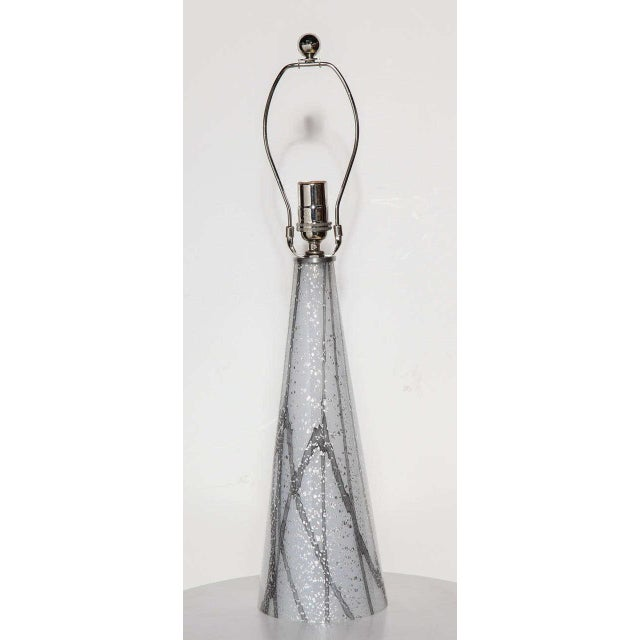 Seguso Murano Translucent Glass Bedside Lamp in White, Gray with Silver inclusions. Featuring a White conical shape with...