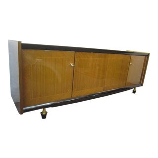 1960s Mid-Century Modern French Long Low Cabinet, Ameublement NF For Sale
