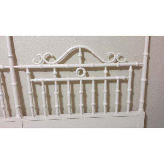 Vintage Chinese Chippendale Faux Bamboo Fretwork King Size Headboard - Image 5 of 8