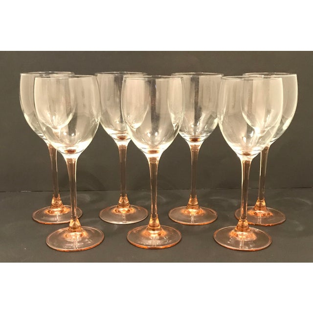 French Vintage Luminarc Pink Stem Wine Glasses For Sale - Image 3 of 3