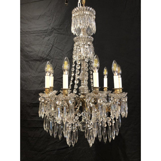 Gold French Napoleon III Signed Portieux Crystal Chandelier For Sale - Image 8 of 9