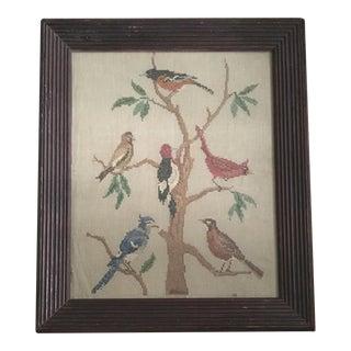 Vintage Framed Birds in Tree Cross Stitch Sampler For Sale
