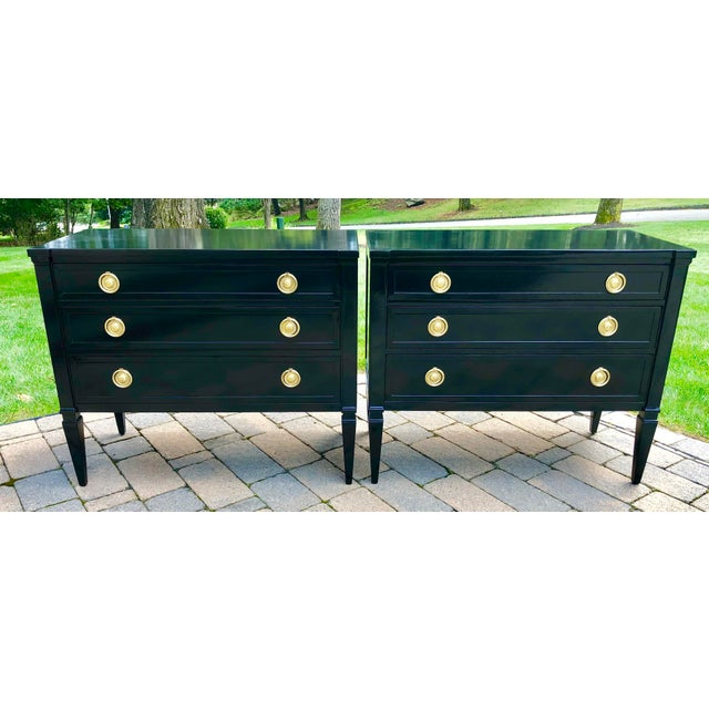 Black Neoclassical Style Black Lacquered Small Night Stands-A Pair For Sale - Image 8 of 8