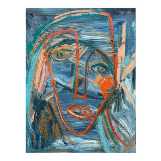 """""""Memory"""" Contemporary Abstract Portrait Mixed-Media Painting by Monica Shulman For Sale"""