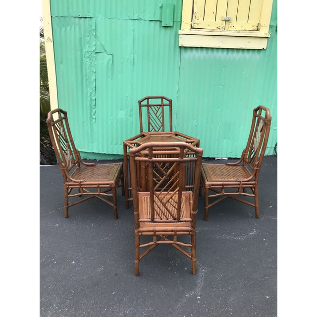 Vintage Brown Jordan Rattan Brighton Pavilion Style Table Four Chairs For Sale - Image 13 of 13