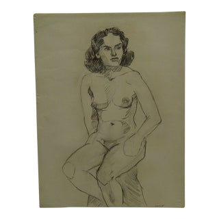 """1955 Mid-Century Modern Original Drawing on Paper, """"Unfinished Nude"""" by Tom Sturges Jr. For Sale"""