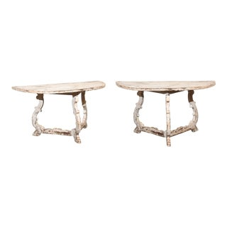 Pair of Italian Baroque Style Painted and Carved Demilune Tables, circa 1900 For Sale