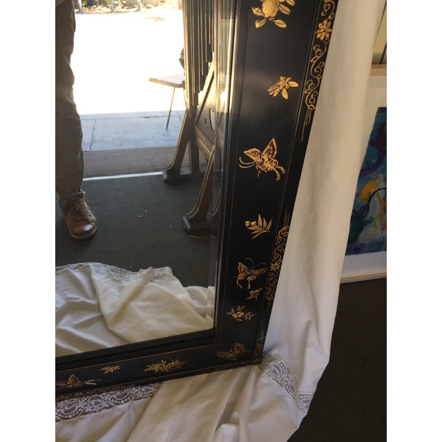 Glass Chinoiserie Wal Mirror Decorated With Butterflies For Sale - Image 7 of 13