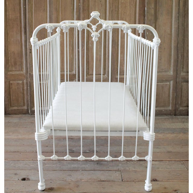Shabby Chic 19th Century Shabby Chic Painted White Iron Crib Baby Bed For Sale - Image 3 of 13