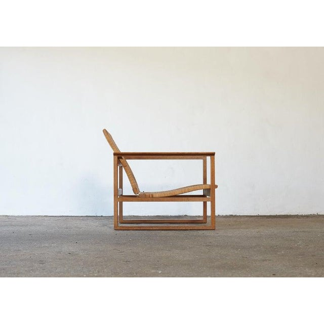 Brown Børge Mogensen 2256 Oak and Cane Sled Lounge Chair, Fredericia, Denmark, 1950s For Sale - Image 8 of 13