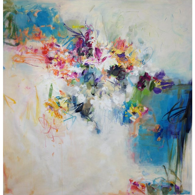 """Sally Cooper Cooper Contemporary Abstracted Floral """"Floral Abstraction 3"""" For Sale - Image 4 of 4"""