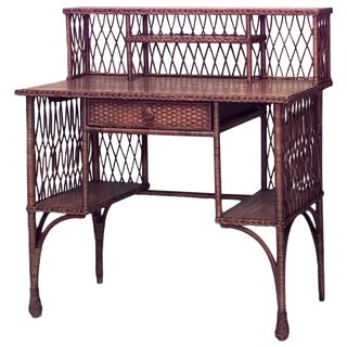American Mission Natural Wicker Oak Desk For Sale
