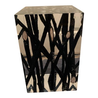 Driftwood and Acrylic Cube Side Table For Sale
