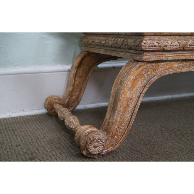 Crackle Painted X Base Regency Style Bench For Sale In Philadelphia - Image 6 of 10
