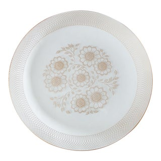 Mid-Century Scandi-Style Glass Platter W/18k Gold For Sale