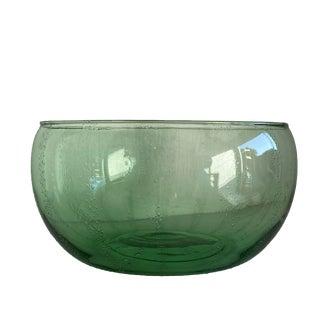 Vintage Mid Century Hand Blown Green Glass Serving Bowl For Sale