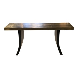 Modern Brass & Wood Sofa Table