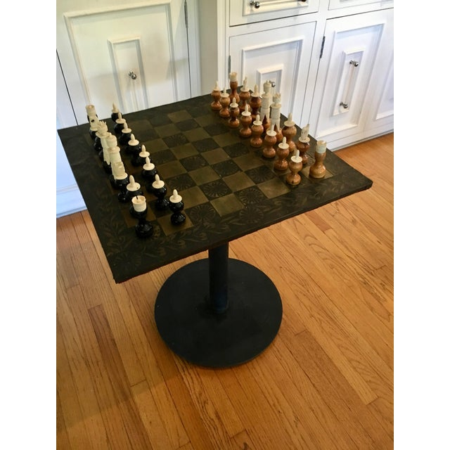 Mid 20th Century Metal Mexaican Chess Board Table With Hand-Carved Wooden Chess Men For Sale - Image 5 of 8