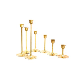 "Vintage Brass Candlestick Holders | Set of 7 Assorted Heights 9""- 3"" 