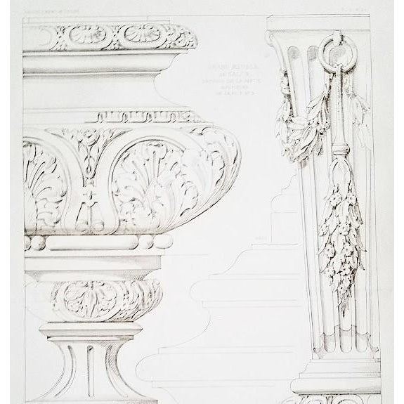VERY RARE! This is a large antique French lithograph of architectural furniture designs that date to c1880s. This is from...
