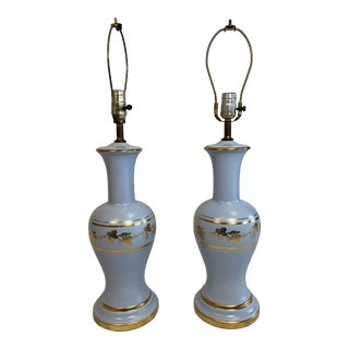 1960s Blue Ceramic Lamps With Gold Leaf Detail - a Pair For Sale