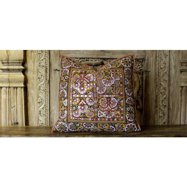 Antique Utsav Reshmi Sutra Pillow For Sale - Image 4 of 4