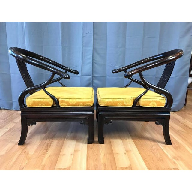 Chinese Rosewood Horseshoe Chow Chairs, 1920s - A Pair For Sale - Image 4 of 10