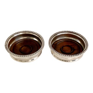 Antique English Silver Coasters - a Pair For Sale